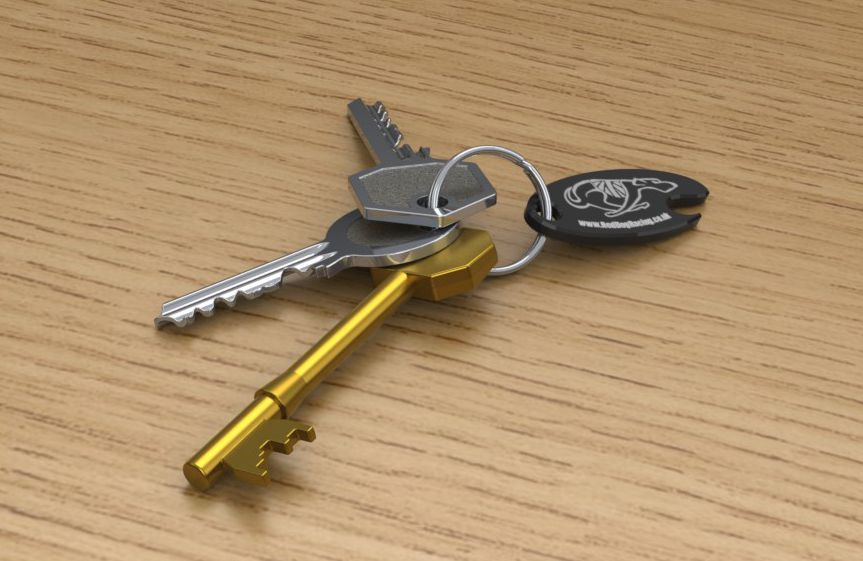 Keys with lasered promotional fob.